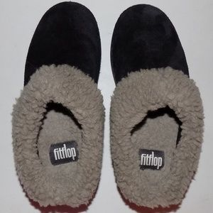 New Fitflop loaff black suede/shearling EU37/US6